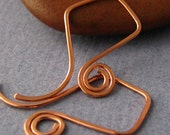 Handmade Copper Ear Wires, Spiral French Kites, 2 pair Earring Findings Made in USA