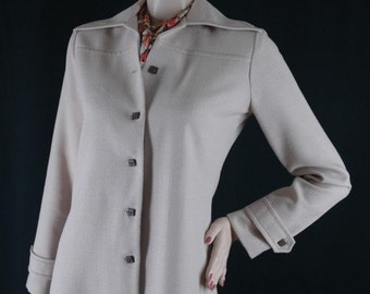 Vintage 70s Coat Dress with Square Buttons Size M Bust 38