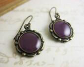 Purple Violet Handpainted Vintage Style Brass Scallop Earrings - Brass or Niobium (hypoallergenic) Fish Hooks