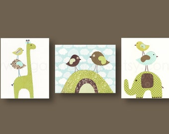 kids art childrens art print kids room decor nursery wall art nursery elephant birds giraffe Set of 3 prints