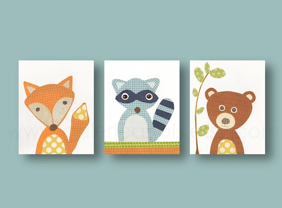 Woodland Nursery Decor Kids wall art nursery art print baby decor Playroom wall Art raccoon forest fox bears Set of three prints