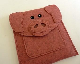 Pig iPad Air / 2 / 3 / 4 case - Farm animal felt sleeve - iPad Air shoulder bag