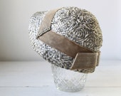 labor day sale / vintage cloche. 1940s silver cream straw with rhinestones. Gage Originals / Art Deco / the STEAK AT LINDY'S hat