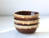vintage 1950s brown drip bowls. 3 Monmouth pottery cereal / ice cream. Chestnut cream. Rustic mid century / the FALL FEAST bowls