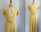 Reserved /// vintage 1930s dress / med. Yellow rayon, hand embellished with sequins and beads  / Art Deco / the COCKTAILS AND MUSTARD gown
