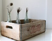 vintage 1960s wooden crate / rustic wood home decor / industrial repurpose storage / fall kitchen shelf 2