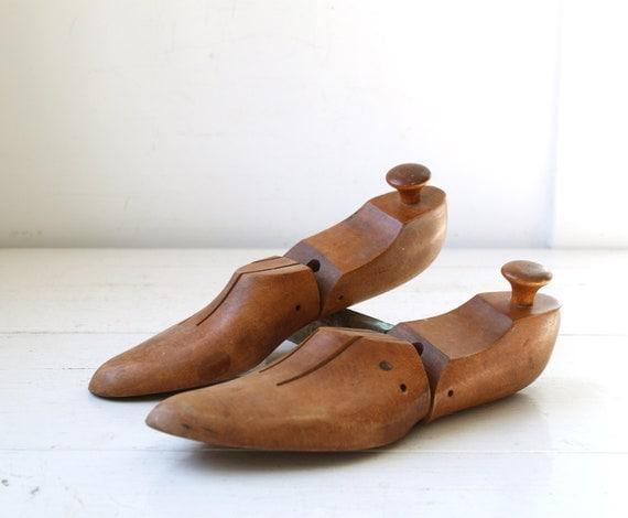 vintage 1920s men's shoe forms. antique industrial.