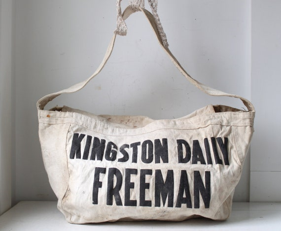 vintage 1950s newspaper bag. Kingston Daily Freeman delivery bag. Black on white canvas. Shoulder bag / hobo / messenger / book bag