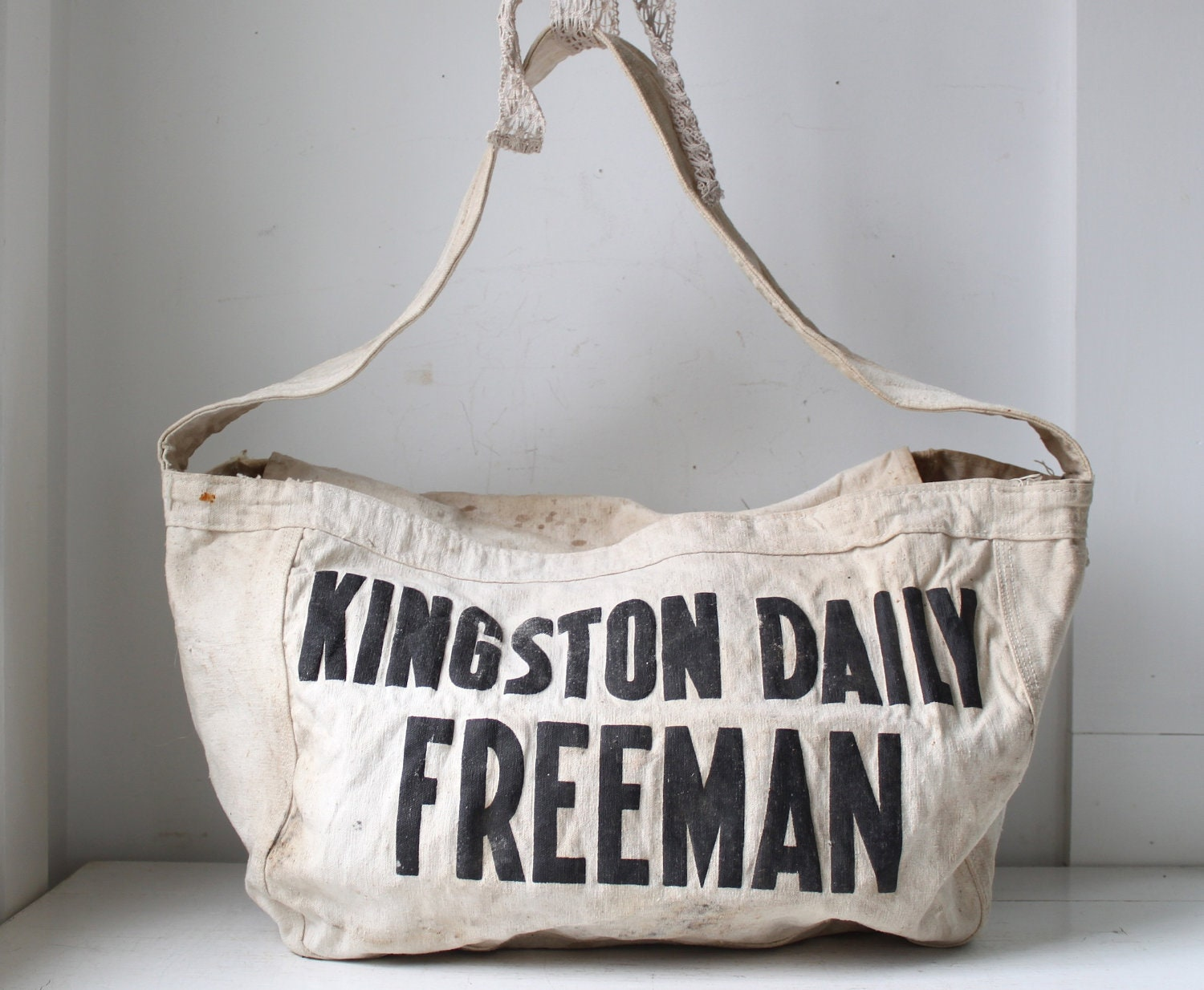 Vintage 1950s Newspaper Bag Kingston Daily Freeman Delivery