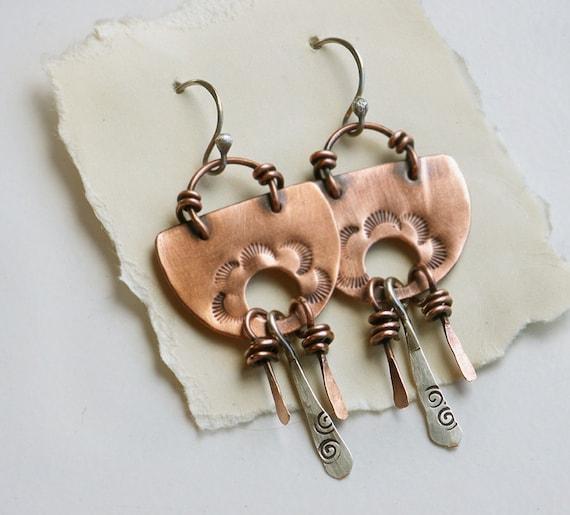 Copper Earrings, Gypsy Earrings, Mixed Metal Earrings, Stamped Metal, Boho Earrings, Tribal Jewelry, Southwest Style