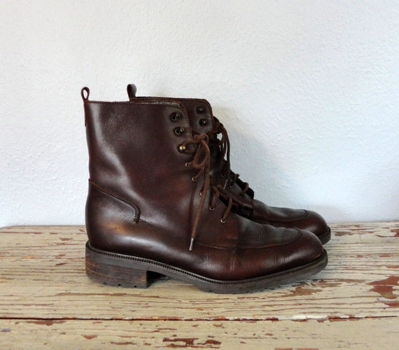 Vintage EDDIE BAUER Boots / Ankle Boots / Brown Leather Boots