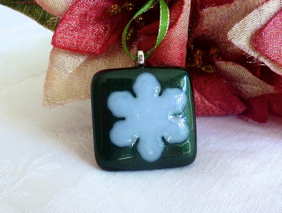 Glass Green and White Snowflake Tree Ornament
