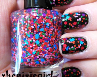 Mixed Color Matte Glitter Indie Nail Polish Lacquer Handmade 15mL Full Size