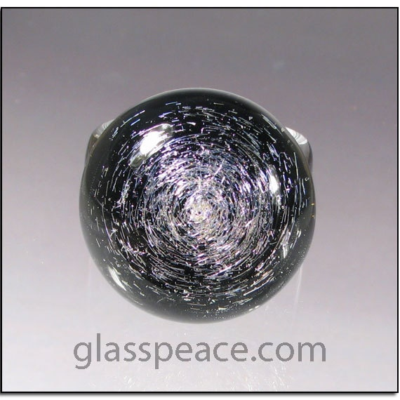 SALE - Purple and Black Dichroic Glass Galaxy Ring - Boro Lampwork Glass Ring Size 6 1/4 - Hand Blown Glass Jewelry (4050)