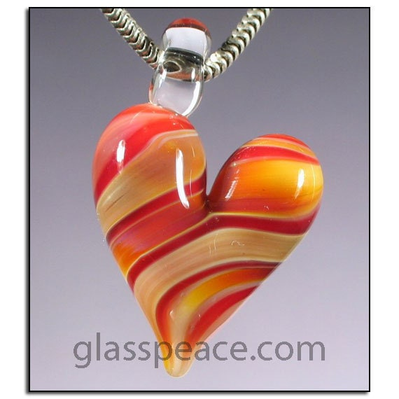 SALE - Colorful Glass Heart Pendant - Lampwork Bead Necklace Focal - Hand Blown Glass Jewelry (3001)
