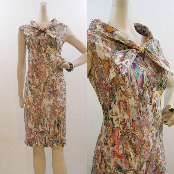 60s Dress Vintage Marbled Print Summer Shift S M