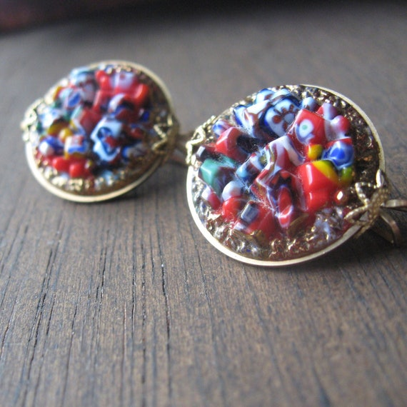 art glass clip on earrings 1930s or