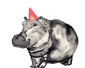 Blank A5 Card with Envelope - Watercolour, Pen and Ink illustrated - Party Animal- Hippo with party hat
