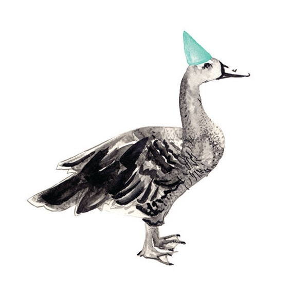 Party Animal - Goose with Party Hat - Watercolour, Pen and Ink illustrated blank A5 Card with Envelope