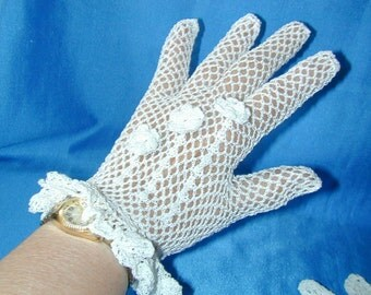 Bridal, Formal, Prom Crocheted Gloves with Irish Roses