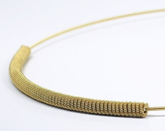 Guitar String Jewelry- Upcycled Brass Bar Necklace, Guitar String Necklace, Modern Minimal Jewelry, Choker Necklace, Guitar Player Gift