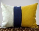 Color Block Stripe Pillow in Mustard, Navy and Natural Linen by JillianReneDecor (12x16) Modern Home Decor Honey Gold - JillianReneDecor