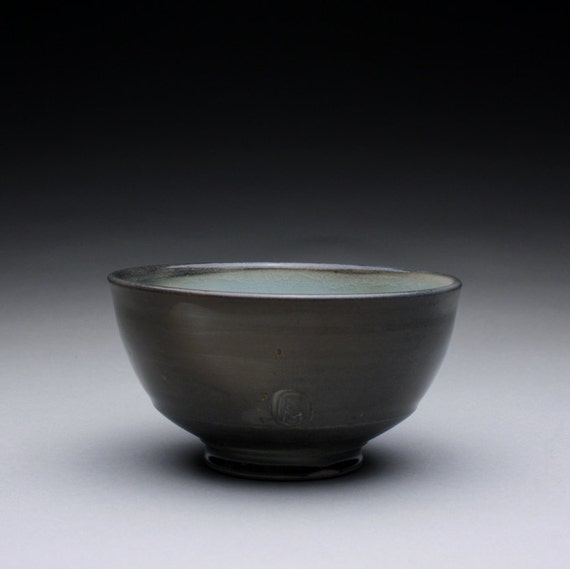 porcelain bowl - ceramic bowl with charcoal gray and turquoise celadon glazes