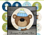 Pinback BUTTON Images 1 inch round 1.313 overall size - Wintertime Fun Collage Sheet AMERICAN BUTTON Machine Tecre
