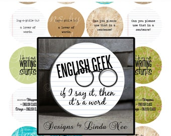 Pinback BUTTON Images 1 inch round 1.313 overall size - English Geek Digital Collage Sheet AMERICAN BUTTON Machine Tecre