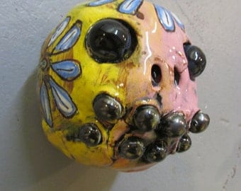 Day of the Dead mask, ceramic wall hanging