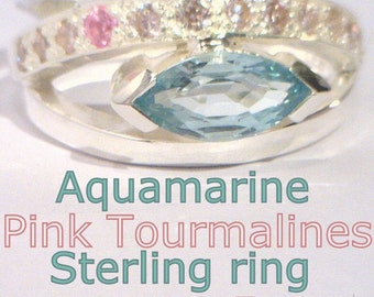 Blue Aquamarine and Pink Tourmaline Handmade 925 Sterling Ladies Ring size 8.5