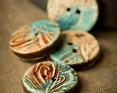 Amber and  Turquoise Sew on Ceramic Button Set