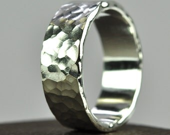 Silver Mens Ring, Hammered Wedding Band, Affordable, Eco Friendly, Recycled Metals, Sea Babe Jewelry