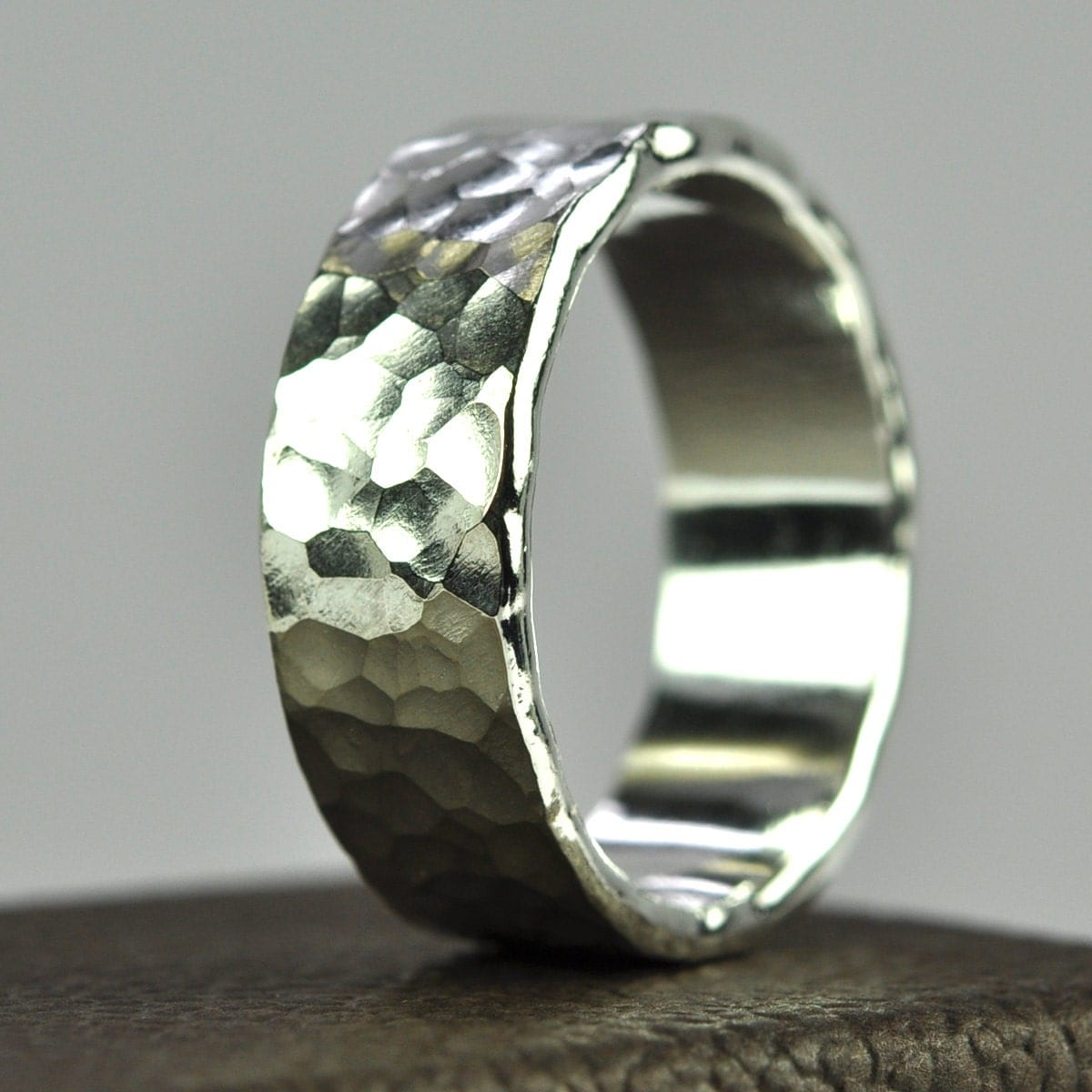 silver mens ring hammered wedding band by seababejewelry With mens hammered wedding ring