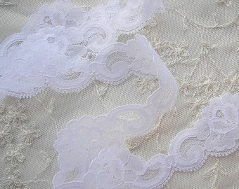 3yd Chic White Rose Flower lace Ribbon Trim Scrapbook Doll Quilt Bridal Veil