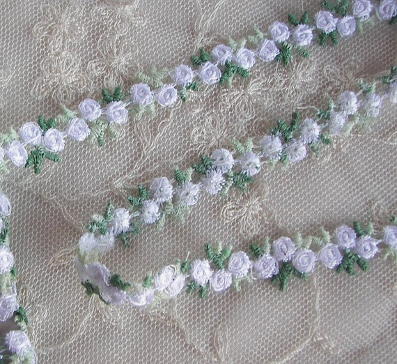 Embroidered rose bud white flower ribbon by delightfuldesigner