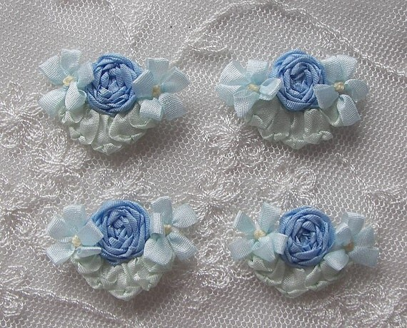 4pc Vintage Chic Pastel Antique Blue Silk Ribbon Embroidered Daisy Spider Rose Flower Applique Christening Gown Baby Doll Hair Bow