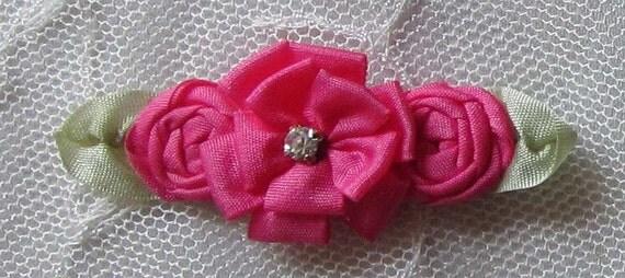 6 Pc Azalea Pink Ribbon Rosette Rose Flower Beaded