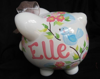 piggy bank hand painted personalized blue bird cherry blossom
