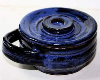 Bright  Blue Shaving Mug with Lid in Stoneware Vermont Made