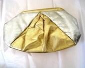 50% off Shop SALE - Metallic Purse // Leather Clutch // 1980s Purse // Golden Peak