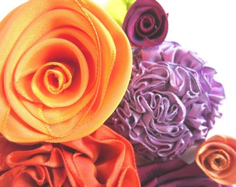 Loose ribbon flowers -- 17-piece mixed garden of flowers & leaves -- for accessorizing, scrapbooking, or whatever you can dream u
