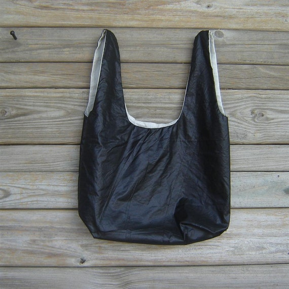Upcycled Parachute : Black and White Parachute Market Tote