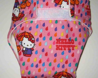 Baby Doll Diaper/Wipe - Hello  Kitty in Rain - Adjustable to Fit Bitty Baby, Baby Alive Cabbage Patch, American Girl Dolls and More