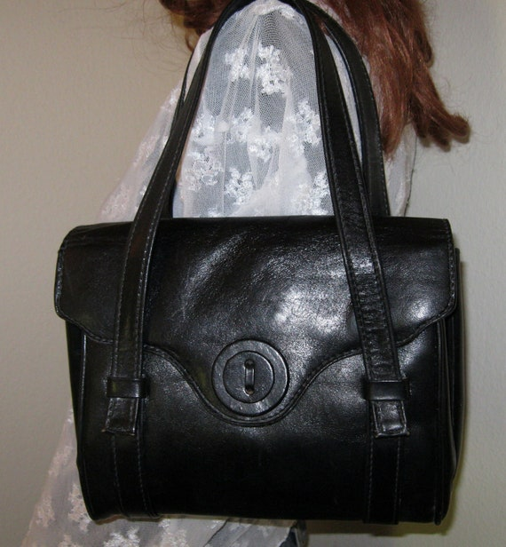 Italian leather  small brief style bag purse satchel vintage 80s