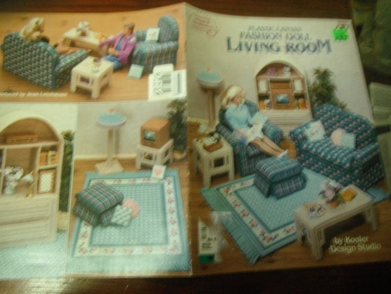 Plastic Canvas Patterns Fashion Doll Living Room American School of Needlework 3085 Kooler Pattern Leaflet