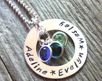 Mothers Birthstone Necklace - hand stamped necklace - sterling silver washer necklace - mommy necklace