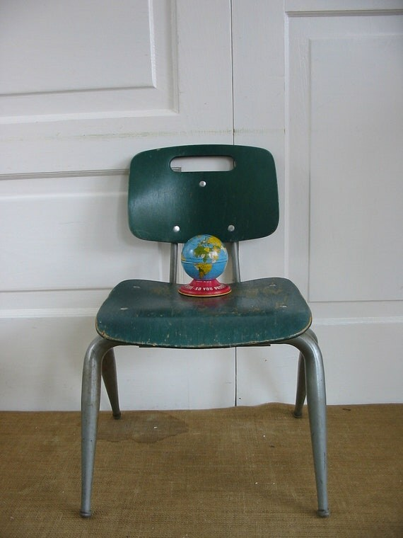 RESERVED.....Children School Chair Wood Green Mod