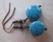 Blue Turquoise and Antique Copper Earrings