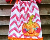 Chevron Pumpkin Pillowcase Dress Wonky Hand Painted Made To Order